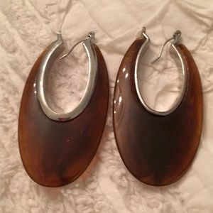 Kenneth Cole tortoise hoop earrings